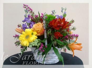 Mixed Flowers Basket   Le Jardin Florist