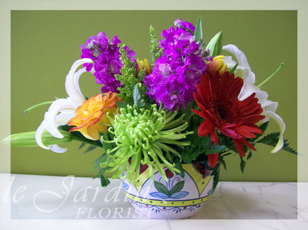 Virgin island flower arrangement le jardin florist for Arrangement jardin