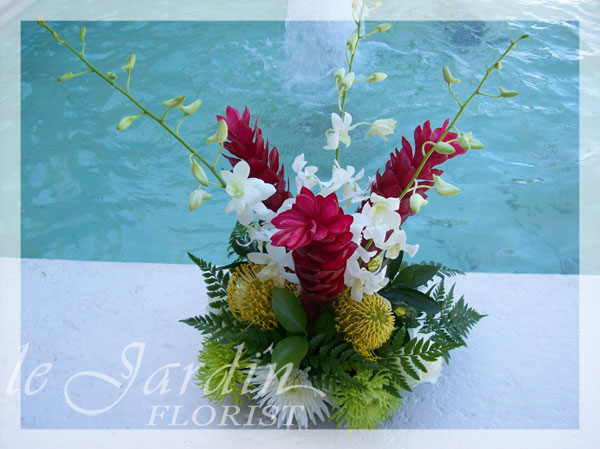 Caribbean splash flower arrangement le jardin florist for Arrangement jardin