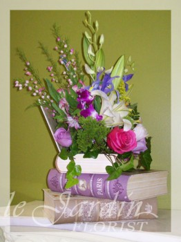 Book Nostalgia Flower Arrangement | Le Jardin Florist
