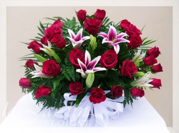 Regal Red Roses Funeral / Sympathy Flower Arrangement | Le Jardin Florist