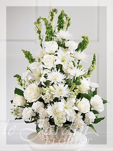 Peaceful thoughts funeral sympathy flower arrangement for Arrangement jardin
