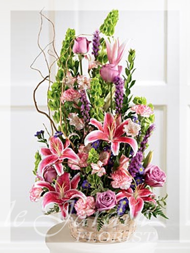 Colorful condolences funeral sympathy flower arrangement for Arrangement jardin