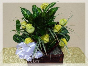 Treasure Chest Flower Arrangement with Live Plants and Fresh Cut Roses by Le Jardin Florist