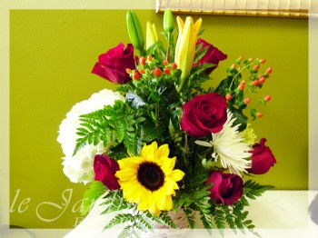 Simple Celebration Basket I Flower Arrangement by Le Jardin Florist