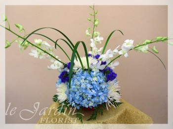 Blue Hawaiian Flower Arrangement by Le Jardin Florist - North Palm Beach Flowers