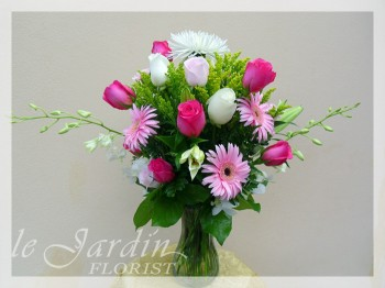 Shades of Pink Flower Arrangement by Le Jardin Florist - North Palm Beach Flowers