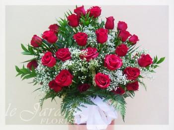 Basket of Roses Funeral / Sympathy Flower Arrangement | Le Jardin Florist