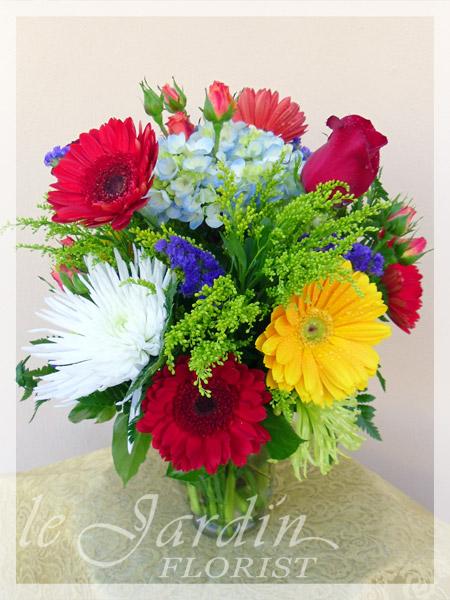 Nice Happy Colors Flower Arrangement | Le Jardin Florist Palm Beach Gardens FL
