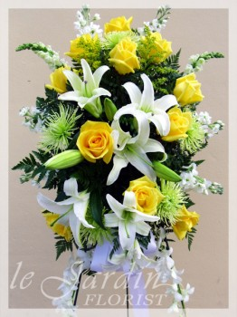 Gentle Thoughts Stand-up Spray Funeral Flower Arrangement - by Le Jardin Florist