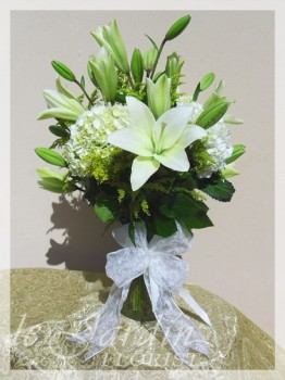 Peaceful White Funeral / Sympathy Flower Arrangement | Le Jardin Florist